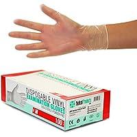 Guantes Desechables de Vinilo 1000 (10x100) Unidades Caja, Talla M 7-8, Transparente, Guantes de examen, sin latex, sin polvo, no estériles, disposables medical gloves, Medium