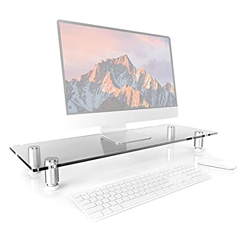 Duronic DM052-3 Clear Glass Stand Riser for PC Computer Monitor / Laptop and TV