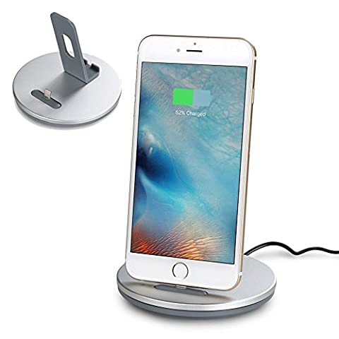 EReach iPhone Dock Station, 2-in-1 Aluminum iPhone Desktop Lighting Charger, iPhone Charger Station Stand, Charger Cradle, Charge and Sync Stand for iPhone 7/ 7 plus/ 6/ 6s/ 6s Plus/ 5/ 5s/ 5c/ SE/ Ipad (Silver)