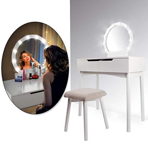 CCLIFE Schminktisch mit Beleuchtung LED Licht Spiegel Hocker Frisiertisch Kosmetiktisch Makeup Table Weiß Modern, Farbe:Schminktisch 019 in Weiß mit Beleuchtung
