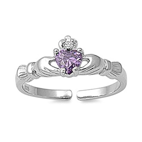 Sterlingsilber Claddagh Toe-Ring mit Zirkonia