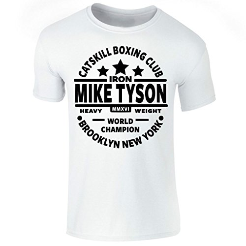 Men's Iron Mike Tyson Catskill Boxing Club Heavyweight Champ Short Sleeve T Shirt UK Size S-XXl (X-Large) White (Tyson Iron T-shirt Mike)