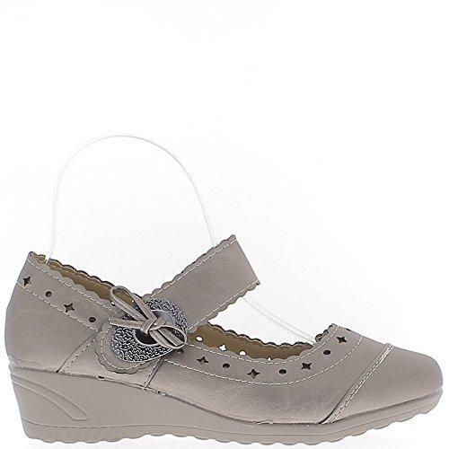 Chaussures Femme Bronze Confort Talon compensé de 4cm liseré Gris Métal