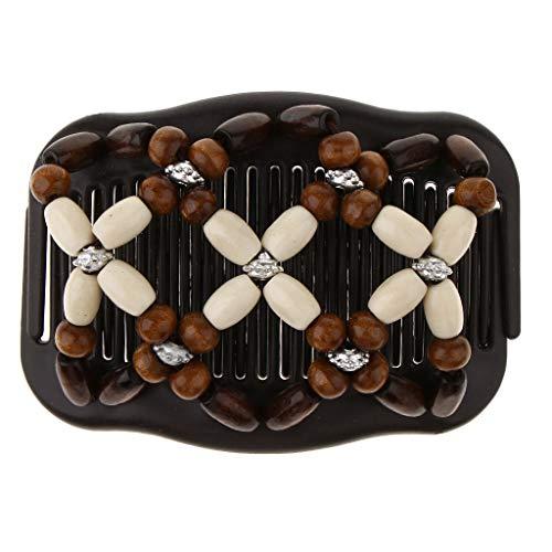 Baoblaze Afrikanische Haarklammer Haarspange Haarkamm Schmuck Haarspange Haarkämme Haarschmuck mit Holzperlen für Damen - Kaffee