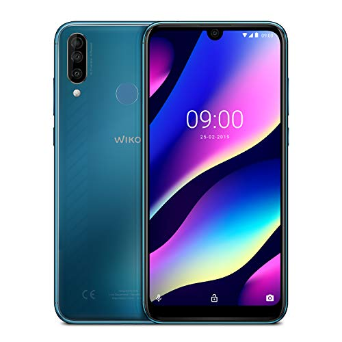 wiko view 3 italia smartphone, android 9 pie, display 6.26 inch, memoria ram 3 gb, memoria rom 64 gb, gradient bleen