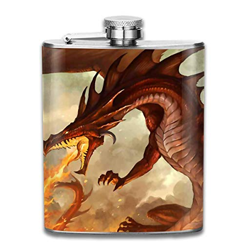 Sdltkhy Fire Brseathing Dragon Hip Stainless Steel Flask 7 Oz - Dragon Thermo Shirt