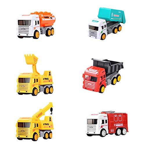 Happy Event 6 STÜCKE Kinder Cartoon Ziehen Mini Engineering Auto Trägheit Auto Spielzeug Set Geschenk