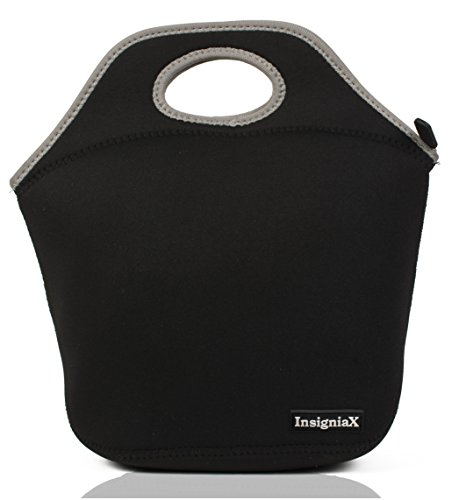 Neoprene Lunch Bag/Box: InsigniaX Cool Food Lunchbox For Adult Men Women Boys Girls School Kids Baby Hot Meal Prep Bento Work With Zip Top Handle Size Size H:30 x W:15.5 x L:29.21cm (Standard, Black)