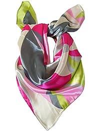 Foulard petit carré 60 x 60 cm - 40% soie rose gris vert écru -