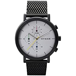 Hygge 2204 Unisex Quartz Watch with Silver Dial Chronograph Display and Black Stainless Steel Plated Bracelet MSM2204BC(CH)