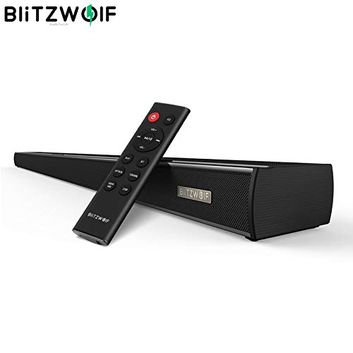 Generic BlitzWolf BW-SDB1 Bluetooth Soundbar TV Speaker 60W HDMI 36-inch 2.0 Channel Wireless Audio Smart Home Theater Sound Bar Black