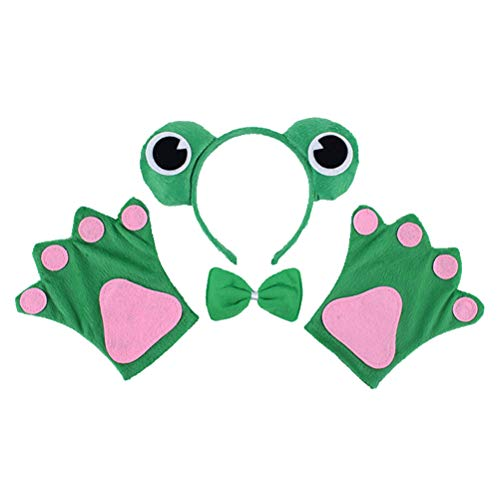 Amosfun 4 stücke Frosch Stirnband Fliege Set Kinder Tier Stirnband Handschuhe Party Cosplay Kostüm Party Favors (Kostüme Stück Tier Ein)