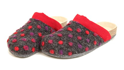Bio Filz Pantoffel PUNTO mit Fußbett & ABS-Filzsohle Gr. 36 - 42 Rot NkH2mmC