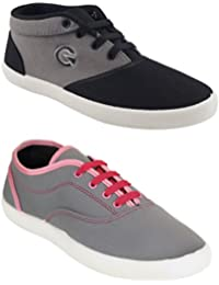 Globalite Women's Casual Shoes / Pink & Black Canvas Sneakers ( Combo Of 2 Pair Shoes)