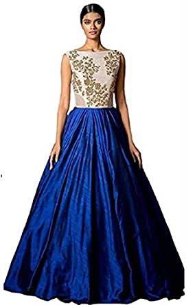 Shringaar Fashion Women's Bangalore Silk Gown (SK1022, Blue, Free Size)