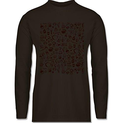 Shirtracer Statement Shirts - Kaffee Scribble - Herren Langarmshirt Braun