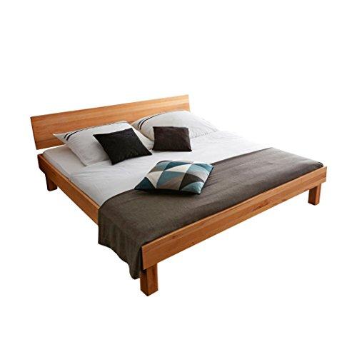 SAM Holzbett mit geschlossenem Kopfteil, Liegefläche: 200 x 200 cm Buche Massivholzbett, Holz, kernbuche, King, 205 x 205 x 73 cm