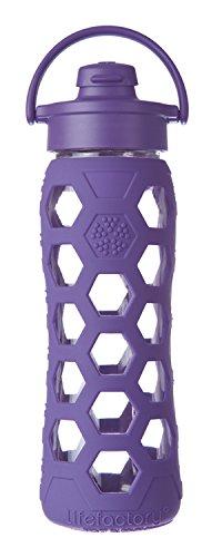 Lifefactory 14790 Glas -Trinkflasche 650ml, Flip Top Cap, royal purple