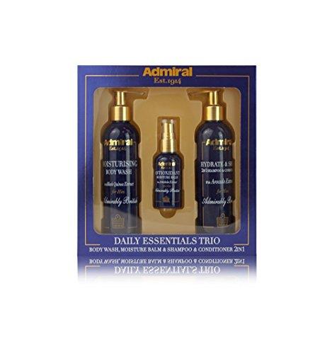 Admiral Daily Essentials Set de regalo de bálsamo hidratante y champú, 3 piezas