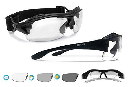 BERTONI Sportbrille mit Sehstärke für Brillenträger Selbsttönend Antibeschlag UV Schutz Gläsern und mit Austauschbare Bügel oder Kopfband - F399 Italy Photochrome Gläser