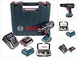 Bosch GSB 18-2-Li Plus Schlagbohrschrauber Professional 18 V im Koffer + 1x GBA 2,0 Ah Akku + Bosch AL 1820 CV Schnellladegerät + Bosch 32 teiliges Bit Set + Bosch USB Ladegerät Adapter für 18V Akkus