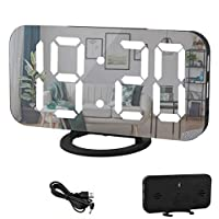 """Digital Alarm Clock,6"""" Large LED Display with Dual USB Charger Ports 