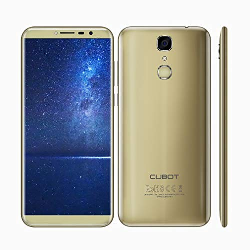 CUBOT X18 4G entsperrt Smartphone Dual Sim frei mit 5,7 Zoll 18: 9 Großbild, Android 7.0 Nougat mit Fingerabdruck-Scanner Handy, 3 GB RAM + 32 GB ROM, 16MP + 13MP Dual-Kameras, LTE FDD MT6737T Quad-Core-Prozessor, 3200mAh Akku, WFI , GPS, Bluetooth (Gold)