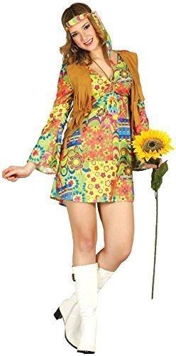 Jahre 1970s Hippie Hippy Minikleid Flower-Power Weste Hen Abend Party Kostüm Kleid Outfit - Multi, UK 16-18 ()