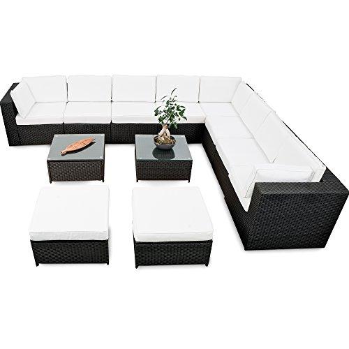 XINRO® erweiterbares 35tlg. Lounge Polyrattan XXXL - schwarz - Garnitur Gartenmöbel Sitzgruppe Lounge Set Rattan XXXL - inkl. Lounge Sofa + Sessel + Ecke + Hocker + Tisch + Kissen