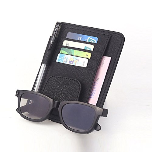 Preisvergleich Produktbild Leder Auto Sonnenbrillen Klipp dokumente ordner kartenhalter multifunktionale aufbewahrungstasche Klipp Schwarz
