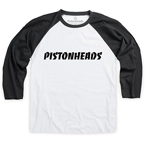 PistonHeads Speed Thrashed Logo T-shirt da baseball, Uomo Bianco-nero