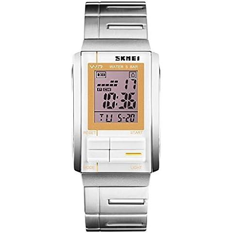 YPS unisex de moda de lujo ocasional del LED Digital Deportes acero lleno relojes de pulsera en oro blanco WTH3449