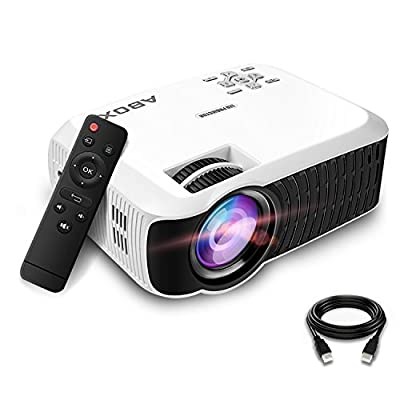 Video Projector 2400 Lumens, ABOX T22 LED Home Theater Video Projector Support 1080P Input Portable Mini Home Cinema LED Projector 800*480 Resolution for PC Laptop PS4 Smartphone Xbox and Android TV Box