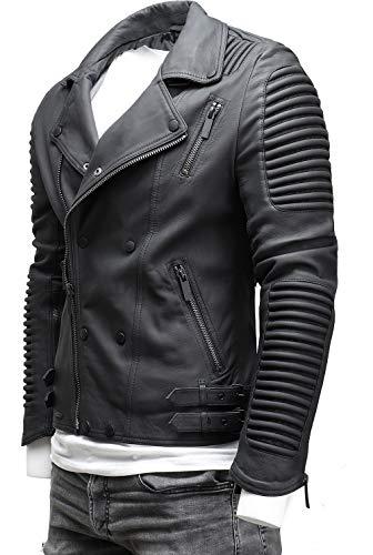 CRONE Herren Lederjacke Echtleder Premium Biker Jacke mit vielen Details und Zippern 100% echtes Schafs-Leder in 3 Farben (Matt Schwarz, S)