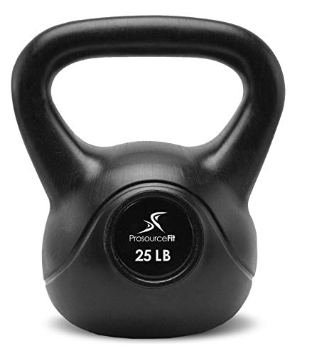 ProSource Vinyl Kettlebell Gewichte für Full Body Workouts, 10 bis 35 Pfund, Black-25Lbs