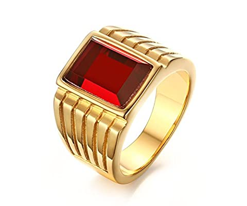 Vnox Mens Antique Stainless Steel Red Square Gemstone Signet Engagement Wedding Band Ring Gold UK Size V 1/2