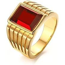 Vnox Banda Anello in oro antico Piazza Rossa in acciaio inossidabile della pietra preziosa Sigillo (Verde Diamante Solitario Anello)