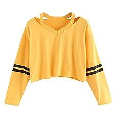 JUTOO T-Shirt à Manches Longues à Manches Longues pour Femmes