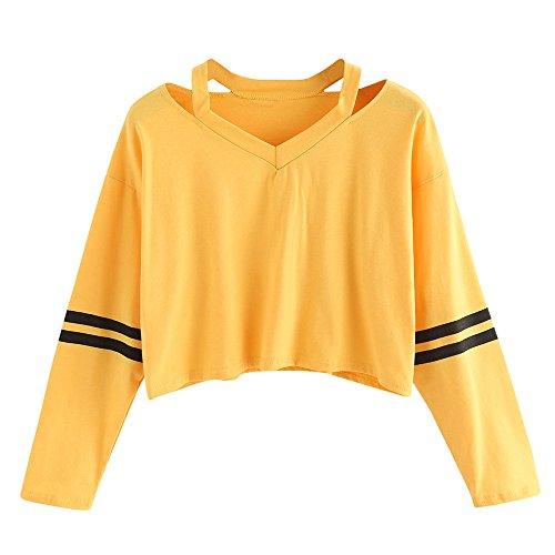 Oberteile Frauen Sommer, Ulanda Teenager Mädchen Mode Crop Top Sport V-Ausschnitt Shirt Bluse Damen Casual Rose Stickerei Kurzarm T-Shirts Hemd Tops Pullover Sale (A-Gelb, L)