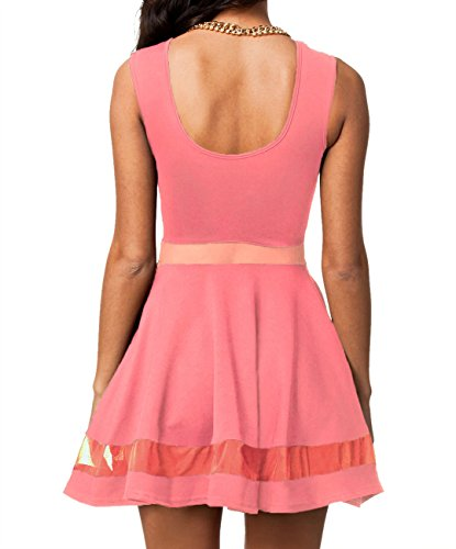 Dissa® Lumière rose panneau de filet à mailles Club skateur robe,Rose Rose