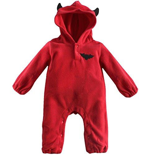CHICTRY Unisex Baby Overall Mit Kapuze Winter Strampler Schneeanzüge Halloween Kürbis/Fledermaus Jumpsuit Mädchen Jungen Kleidung Kostüm Gr. 68 74 80 86 Rot 68-74 (Herstellergröße: ()