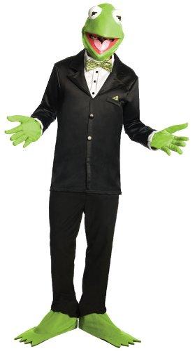 Kostüm Muppet Show Frosch Kermit Set Maske Handschuhe Stulpen