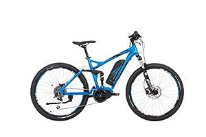 Fischer E-Bike Mountain EM 1862, Blau, 27,5, RH 48 cm, Mittelmotor 48 V/557 Wh, Shimano XT-Schaltwerk, Navigation Teasi, RockShox-Federung, DNM Luft Dämpfer, Gear-Sensor