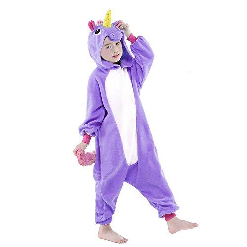 Ensemble de Pyjama Grenouillère Costume Cosplay Onesie Animaux en Flanelle Fille Garçon Cadeau Noel (Hauteur 140-150cm(Etiquette Tailleur125), Violet Unicorn)