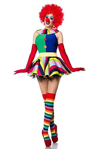 (Damen Clown Outfit Kostüm Verkleidung mit Kleid, Perücke, Nase, Strümpfe und Handschuhe in bunt M)