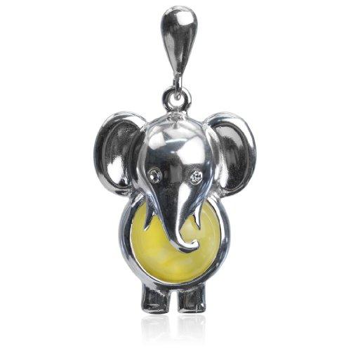 Noda Caramelo Ambar Plata Esterlina Elefante Colgante