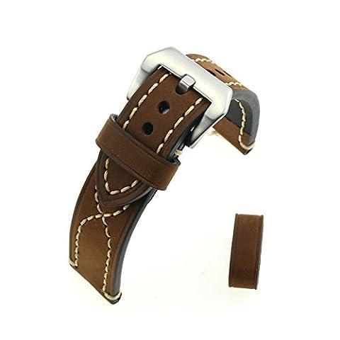 Brown Crazy Horse Leather Steel tréfilage Fermoir