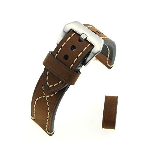 In pelle marrone Crazy Horse acciaio trafilatura Chiusura La nuova pelle reale ruvida spessa Double S grossa mano linea di orologi cinturino