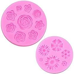 Ancefine - Molde de silicona para fondant, diseño de margarita rosa, para decoración de tartas, cupcakes, arcilla polimérica, jabón, manualidades