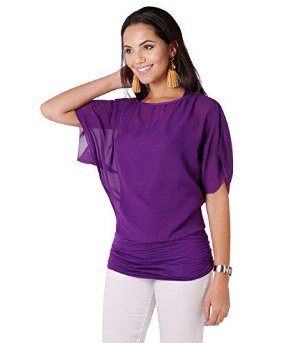 KRISP® Femmes Blouse Ample Boho Mousseline Manches Chauve Souris Froncée Pois Violet (3559)